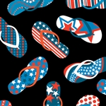 Benartex All American Patriotic Flip Flops Black 8361-12 Half yard