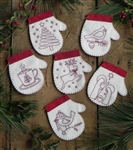 Redwork Mitten Ornaments Kit K0614