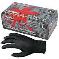 NITRISHIELD GRIPPAZ DISPOSABLE NITRILE GLOVES, POWDER FREE, 6 MIL, X-LARGE, BLACK