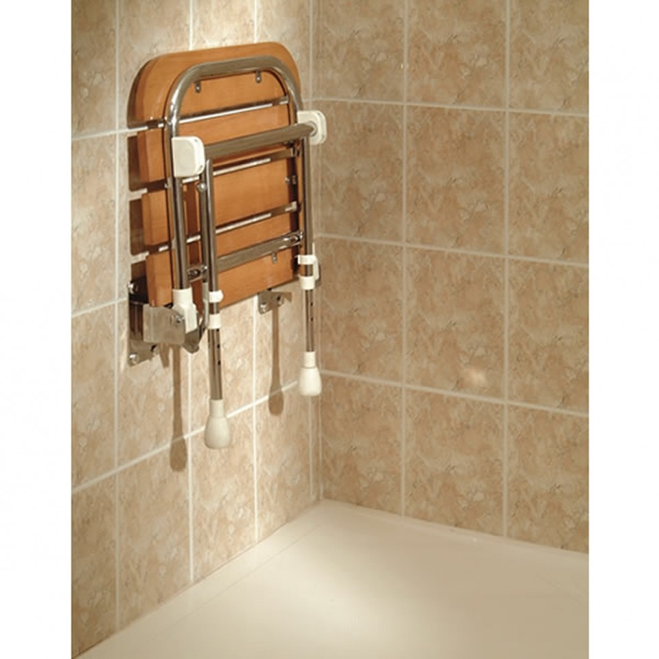 AKW 04030 Wooden Fold Up Slatted Shower Seat