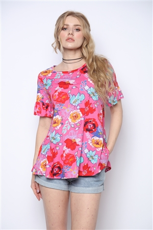 PINK AND FLORAL PRINT TUNIC TOP WITH RUFFLED SHORT SLEEVE T5001