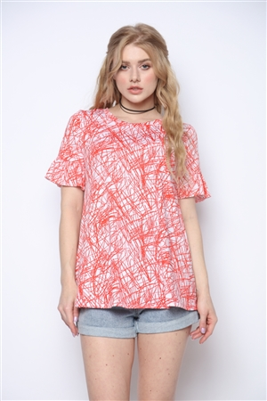 RED ABSTRACT SCRIBBLE PRINT TUNIC TOP WITH RUFFLED SHORT SLEEVE T5001