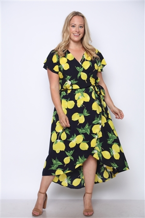 NAVY YELLOW LEMONS PRINT PLUS SIZE MAXI DRESS  D8539X-F