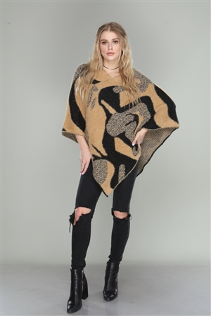 TAN/BLACK ABSTRACT PRINT SOFT KNIT PONCHO  AO6205  (3 PCS)