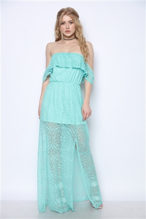 OFF THE SHOULDER MINT LACE DRESS BT6365