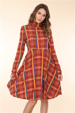 DY4781 RAINBOW PLAID TURTLENECK A-LINE DRESS