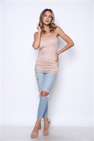TAUPE LACE KNIT FULL LINING TOP  MT1013