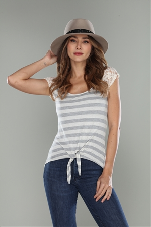 GREY/IVORY STRIPED LACE SHOULDERS  T-SHIRT TOP  T97088