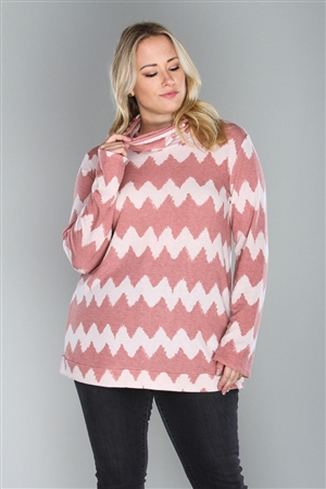 BLUSH/TAN ZIGZAG PRINT PLUS SIZE  TOP  B5238X