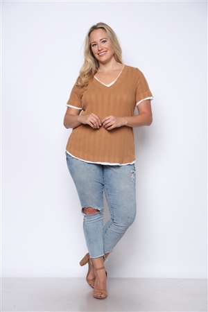 PEANUT BROWN KNIT TEXTURE PLUS SIZE TOP  PTT3733