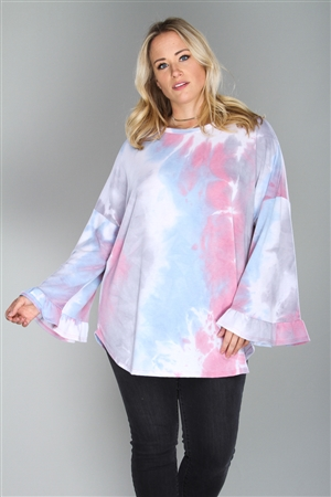 BLUE/PINK TIE DYE PRINT  PLUS SIZE  TOP   TP1869-2