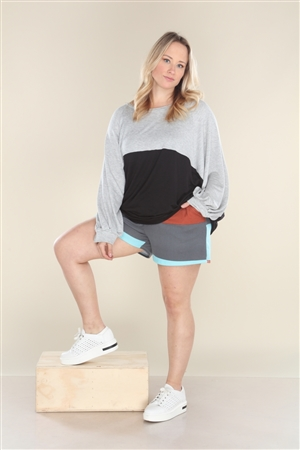 AQUA CHARCOAL COLOR BLOCK SHORT  PC5179X