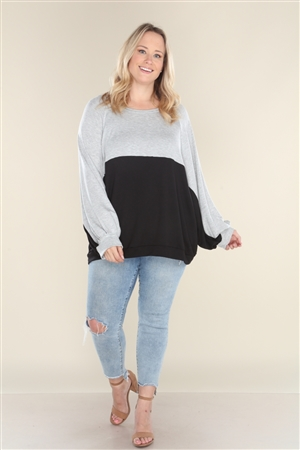 GREY BLACK COLOR BLOCK TUNIC TOP  B5262X