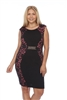 BLACK FUCHSIA LACE SHIFT DRESS  4119X