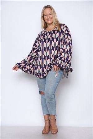 NAVY GEOMETRIC PRINT RELAXED FIT FLOUNCE SLEEVES PLUS SIZE KNIT TOP  TP1869-5