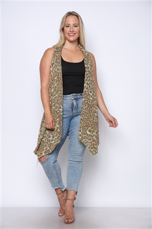 MOSS CHEETAH PRINT KNIT OPEN FRONT SWING VEST  CP1824-1