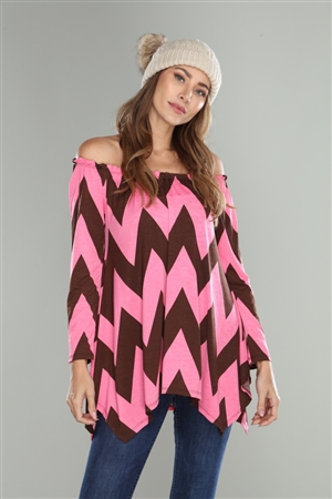 CHOCOLATE/PINK CHEVRON KNIT OFF SHOULDER ASYMMETRIC TOP