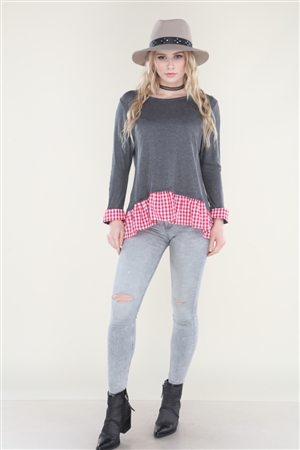 CHARCOAL RED GINGHAM TUNIC TOP  B81830