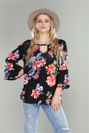 BLACK FLORAL PRINT KEYHOLE 3/4 BELL SLEEVE TUNIC TOP