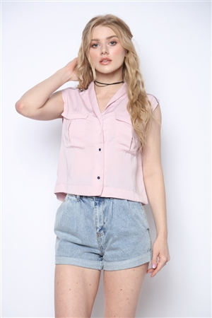 PINK MILITARY SLEEVE-LESS CROP TOP KT10226