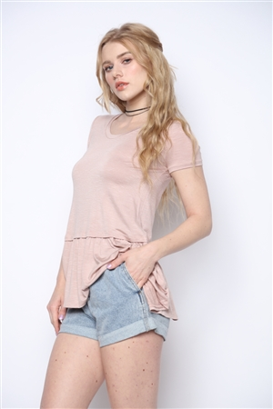 DUSTY ROSE WHITE THIN STRIPES PRINT TOP  T15676