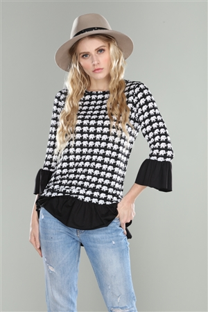 BLACK WHITE ELEPHANT PRINT FLOUNCE SLEEVE TOP