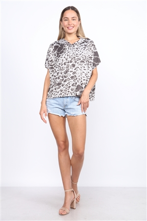 T1751 GREY LEOPARD HOODED TOP