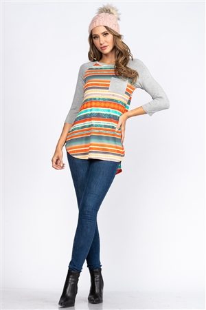 GREY/ORANGE AZTEC PRINT HI LOW TUNIC TOP