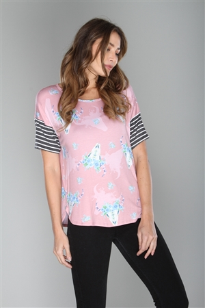MAUVE WILDWEST PRINT TOP  T1479-1