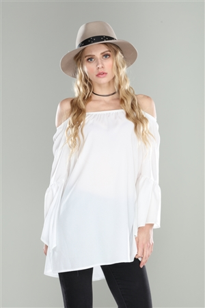 IVORY OFF SHOULDER RELAXED FIT TUNIC TOP
