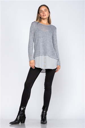 SLATE GREY CREW NECK LONG SLEEVE TOP  TY2229