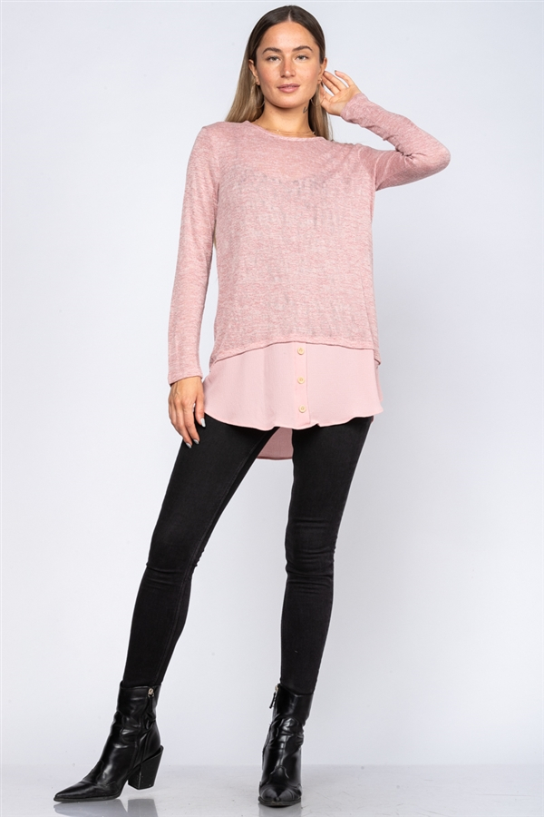 MAUVE CREW NECK LONG SLEEVE TOP  TY2229