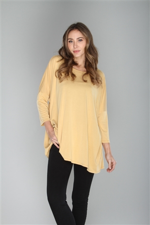 MUSTARD LOOSE FIT TUNIC TOP   TY2798SA