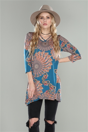 TEAL CRISS CROSS MANDALA PRINT TUNIC TOP