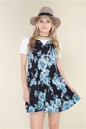VC5131 NAVY FLORAL PRINT SWING DRESS