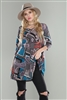 GREY/TEAL MULTI PAISLEY SQUARE PRINT V-NECK TUNIC TOP  T1624