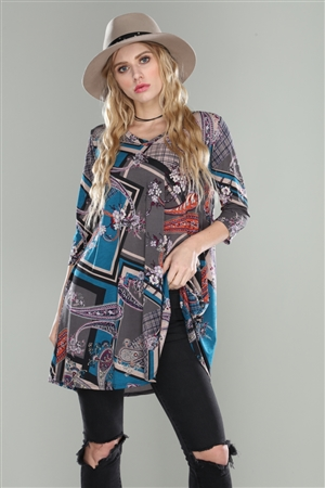 GREY/TEAL MULTI PAISLEY SQUARE PRINT V NECK TUNIC TOP
