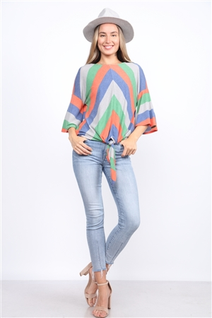 MULTI STRIPE FRONT KNOT TOP  TT2495C