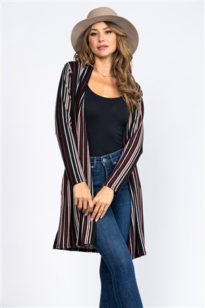 BLACK STRIPES PRINT CARDIGAN  C1637-9