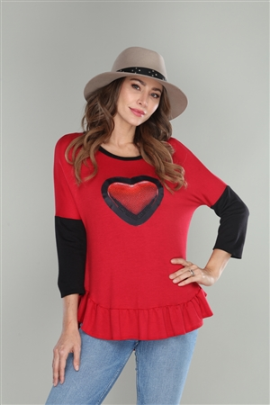 RED BLACK HEART PRINT TOP  B50777