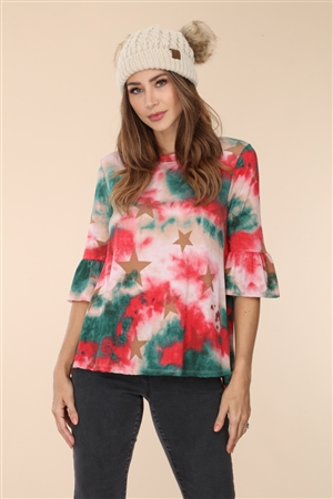RED/GREEN TIE DYE STAR PRINT FLOUNCE SLEEVE TOP  B5294