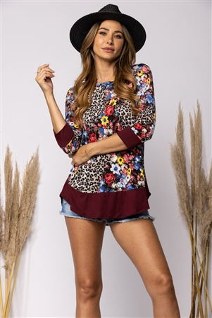 BURGUNDY FLORAL ANIMAL PRINT TUNIC TOP