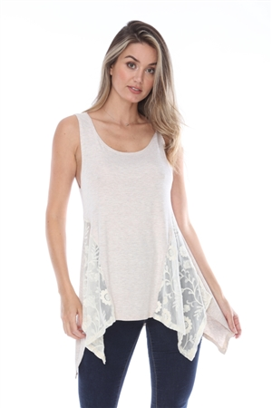 OATMEAL LACED TANK TOP F32