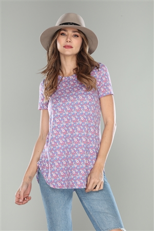CERULEAN BLUE CALICO FLORAL PRINT T-SHIRT TOP  B3492