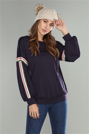 NAVY KNIT BOAT NECK STRIPE TRIM SWEATER TOP