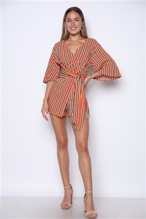 BY6465ST APRICOT STRIPED ROMPER