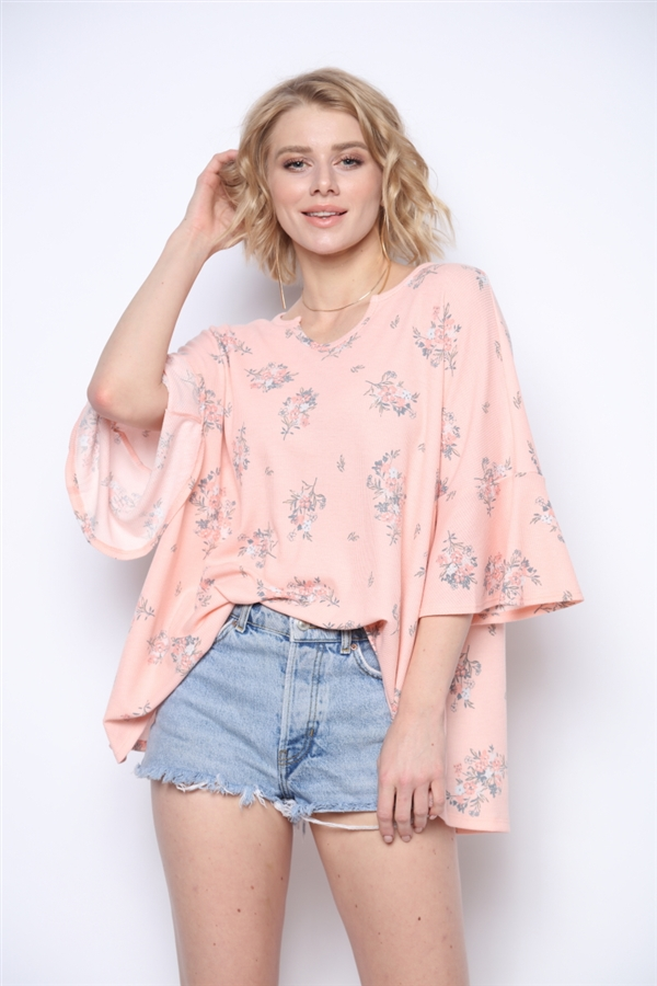 BLUSH MINI FLORAL BOUQUETS TOP  T1911-2