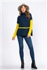 NAVY/YELLOW CONTRAST KNIT PULLOVER TOP  TT3531   2M, 2L