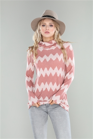 BLUSH TAN ZIGZAG PRINT COWL NECK TOP  B5238