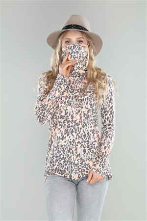 IVORY NEON ORANGE CHEETAH PRINT COWL NECK TOP  B5238